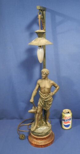 Vtg Antique Figural Lamp The Blacksmith by Domenech White Metal Newel Post Works