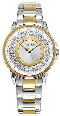 NEW SO & CO New York 5219.4 Women's Madison Diamond Accent Gold and Silver Watch
