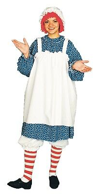 Raggedy Ann Adult Halloween Costume Dress With Apron Bloomers Stockings Hat Wig
