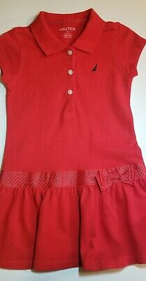 Toddler Girls Nautica Solid Red S/S Polo Dress Size 4 - Retail $36.50