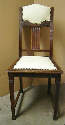 Stuhl Vintage Antik über 100 Jahre alt mit Leder neu gepolstert  - Über Leder Stuhl