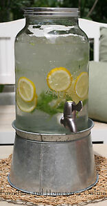 Mason Jar Glass Drink Dispenser Server Water Beverage Juice Jar NEW
