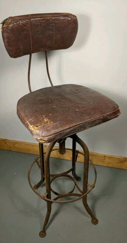Vintage Toledo Metal & Wood Industrial Adjustable Stool Original Cushions UHL