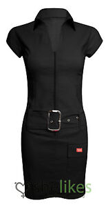 Womens Bodycon Dress Ladies Buckle Zip Up Front Stretch Bodycon Mini Dress 8-14