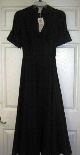 Womens Ladies NWT Tweeds Black Linen Short Sleeve Tie Back Dress Size 2
