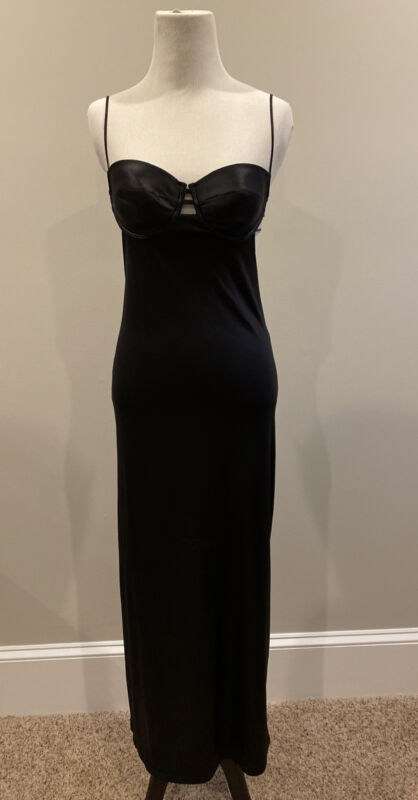Very Sexy Victoria's Secret  Black Full Length Slip Dress With underwire 34B/C