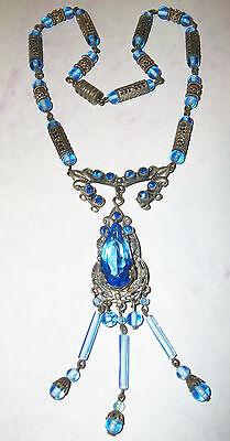 ELABORATE CZECH Vtg Victorian AUSTRO~HUNGARIAN Rhinestone PENDANT Beads NECKLACE