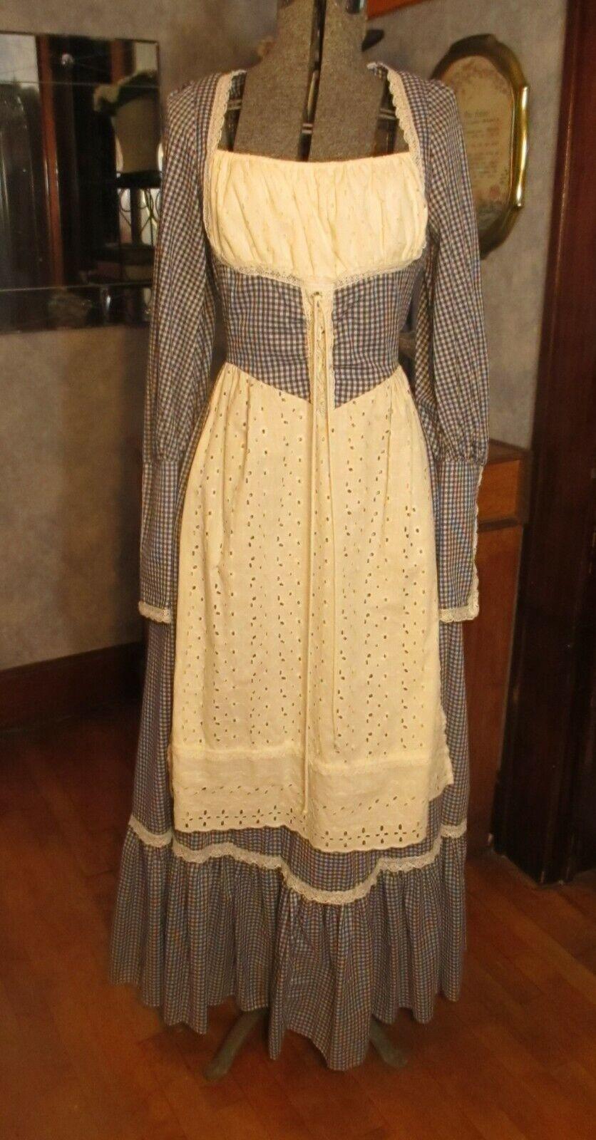 Rare Vintage Jessica Gunne Sax Boho Prairie Maxi White & Blue Check Dress Sz 13