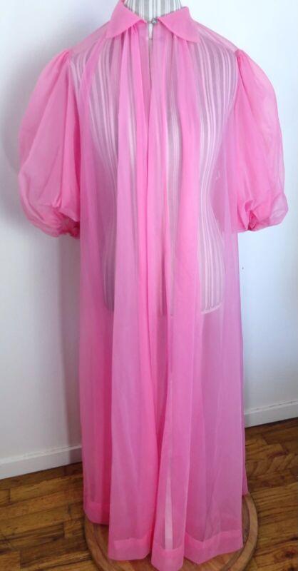 Dreamy Vintage Vanity Fair Chiffon Puff Sleeve Peignoir Robe