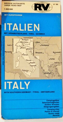 VINTAGE FOLDED ROAD MAP 1972 REEISE & VERKEHRSVERLAG ITALY / S GERMANY / TYROL