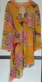 Dress 1970s colourful size 12-14