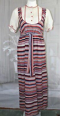 Womens VTG 60s/70s 1960s 1970s Peasant Boho Hippie Maxi Dress size small med 1960's Womens Hippie Dress