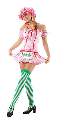 Strawberry Doll Adult Women's Costume Shortcake Sexy Halter Dress Apron