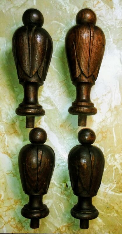 4 Antique Fleur-De-Lis Carved Walnut Finials Bed Post Topper  Architectural
