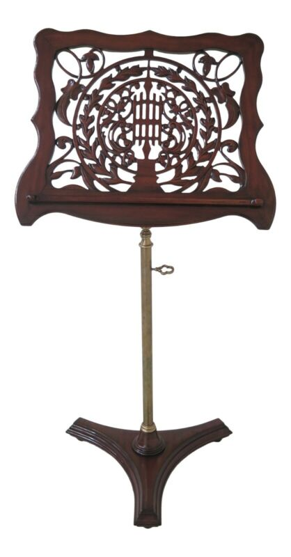 L38899EC: Carved Mahogany Adjustable Lectern Music Rack Stand
