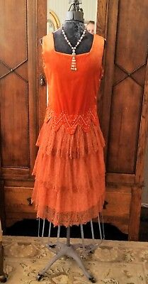 ANTIQUE 20'S ERA RHINESTONE STUDDED PEACH VELVET AND METALLIC LACE FLAPPER - 20s Era Dresses
