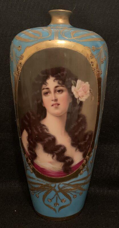 """Antique Dresden Porcelain Hand Painted 11"""" Portrait Vase Jug Ca. 1893-1916"""