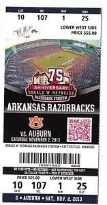 2013 ARKANSAS RAZORBACKS VS AUBURN TIGERS COLLEGE FOOTBALL TICKET STUB 11/2/13