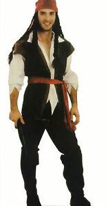 Mens Pirate Buccaneer Jack Sparrow Caribbean Pirate Costume Adult Fancy D2001A