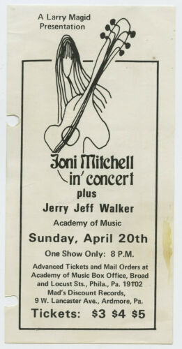JONI MITCHELL Jerry Jeff Walker Original 1969 Concert Handbill / Flyer