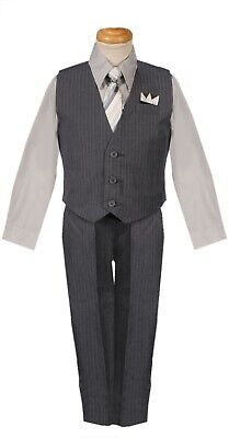 silver light grey boys pinstripe vest 4 piece set formal suit easter all size - Boys Grey Suit