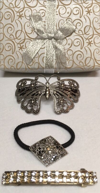 Vintage (3) Pieces Hair Accessories Barrettes & Pony Tail Holder!