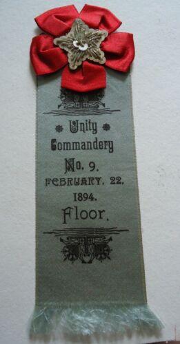 Antique Fraternal Ribbon : Knights Templar 1894 Unity Commandery / Floor