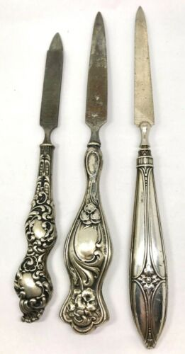 3 - Victorian NAIL FILES - STERLING SILVER ORNATE HANDLES - Lot of 3