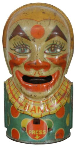 J Chein & Co Tin Litho Mechanical Clown Coin Eating Toy Bank 5""