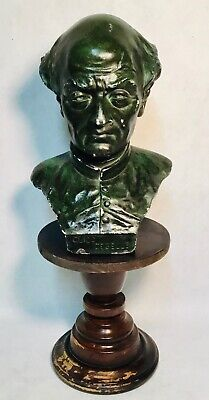 Guido Gezelle buste statue chalk marble look wooden stand signed G Carli N°151