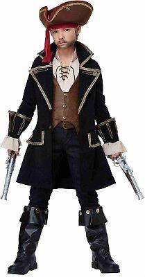 Boys Frock Coat Captain Jack Caribbean Medieval Black Pearl Child Pirate (Black Pirate Coat Kostüm)