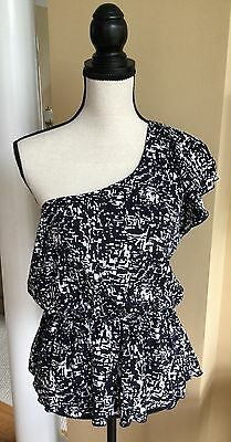 Womens Lola One Shoulder Navy Blue   White Print Top Blouse   Size L