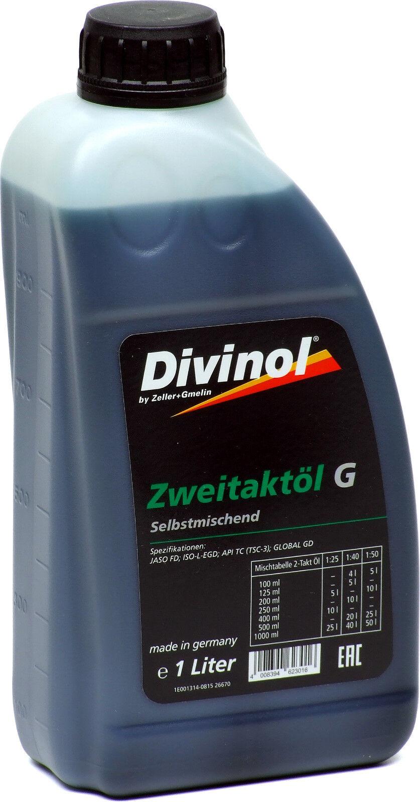 Divinol Zweitaktöl G 1 Liter grün raucharm Kettensäge Fadenmäher Motorsense 1L