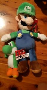 Brand new with tags Luigi and yoshi Mario plush teddies