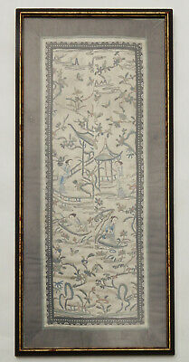 Antique Chinese Silk Embroidered Robe Sleeve Panel Forbidden Stitch