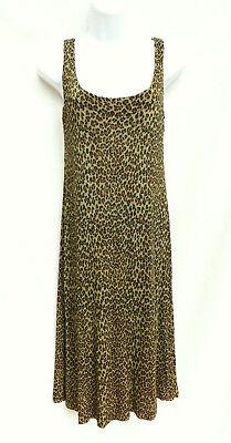 BETSEY JOHNSON Womens Green Brown Leopard Print Jersey Slinky Tank Top Dress S - Betsey Johnson Slinky
