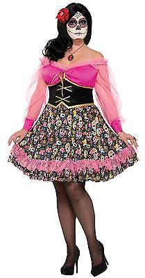 WOMENS LADY MEXICOS DAY OF THE DEAD SKELETON FESTIVAL COSTUME PLUS SIZE FM76072 - Plus Size Womens Skeleton Costume