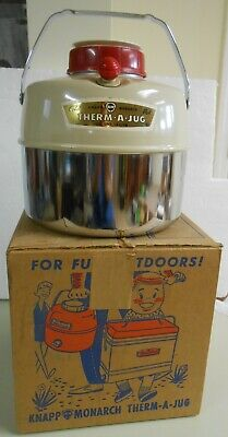 Vintage Therm-A-Jug in Original Box EUC Beige and Chrome