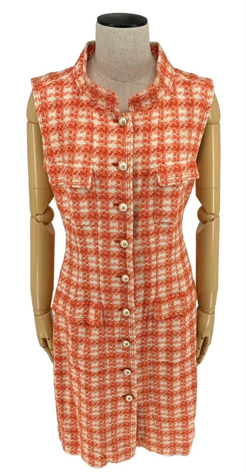 Authentique chanel vintage 01p coco mark tweed robe sans manches #40 orange rank
