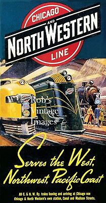 Chicago Northwestern CNW Railroad 400 passenger train Advertising Poster