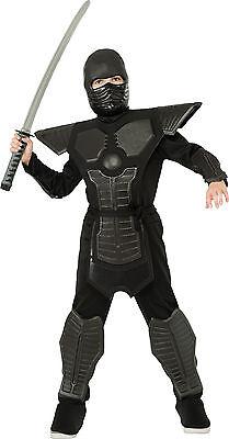 Kids Deluxe Black Ninja Costume Assassin Japanese Warrior Cospaly Size M 8-10 (Assassin Kids Costume)
