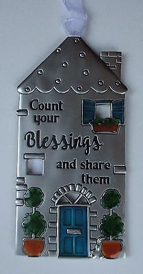 17cd Count Your blessings and share them NO PLACE LIKE HOME House ornament Ganz