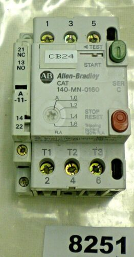 (8251) Allen Bradley Starter 140-MN-0160 + Auxiliary Contact