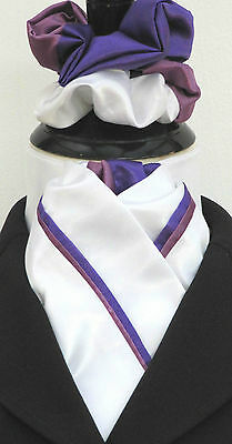 Ready Tied White with Purple & Lilac Piping Faux Silk Dressage Stock & Scrunchie