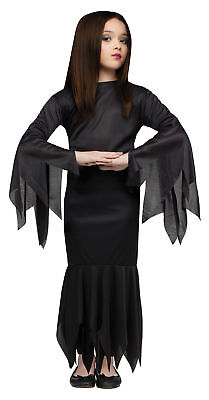 Morticia Addams Family Child Girls Costume Black Fancy Dress Halloween Funworld