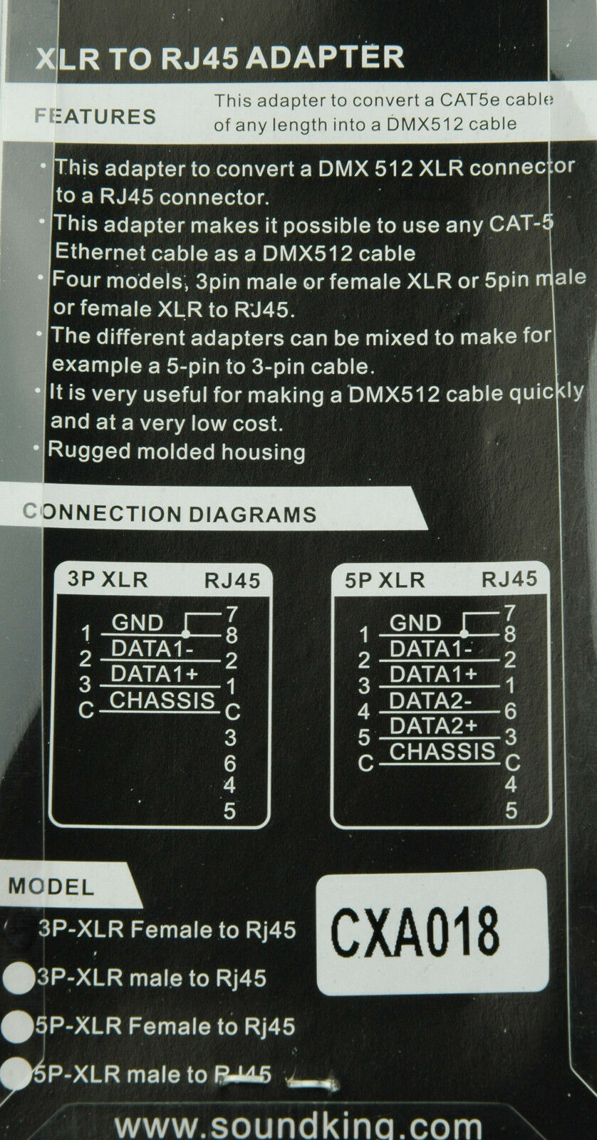 3 Pin Female Xlr To Rj45 Adaptor Converts Cat 5 Ethernet Cable Dmx Wiring Diagram Connector