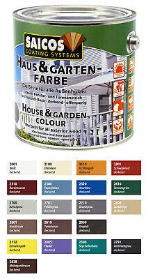 Saicos Haus und Garten Farbe 2,5L Farbwahl Wetterschutzfarbe Holzfarbe
