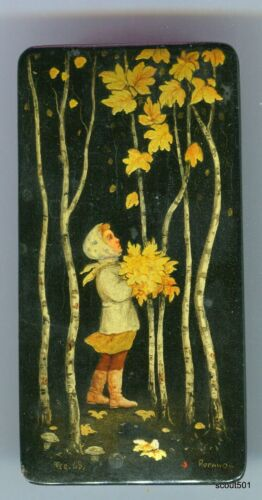 1968 USSR Russian Lacquered Hand Painted Modern Autumn Girl Signed Box