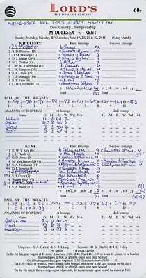 MIDDLESEX v KENT LORDS JUNE 2011 CRICKET SCORECARD