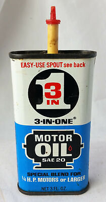 - Vintage Oil Can Oiler 3 in One Small 3 oz Tin of Motor Oil SAE 20 Ex C Colorful